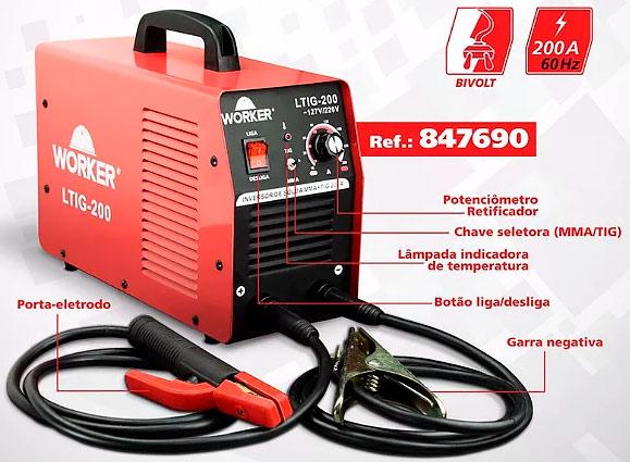 Inversora de Solda Eletrodo Tig LTIG200 Worker com menor Preço!