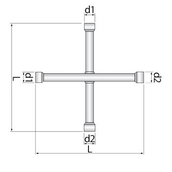 Chave de roda cruz extralonga 17x19Mm 280 064 855 Robust