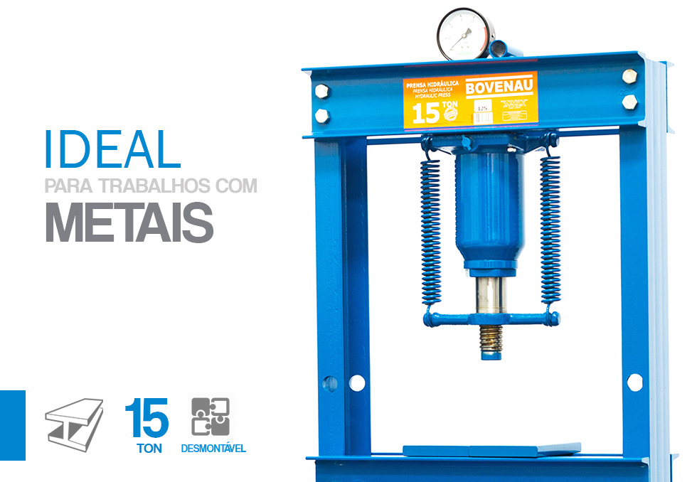 Prensa Hidráulica 15 Toneladas Desmontável P15500 Bovenau