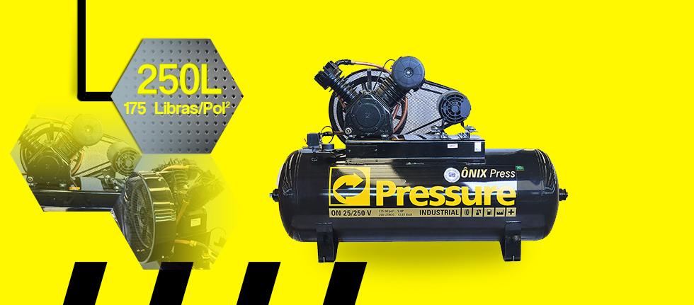 Compressor de Ar 25 Pés 250 Litros Pressure Ônix 25/250 V - 220/380V Trifásico