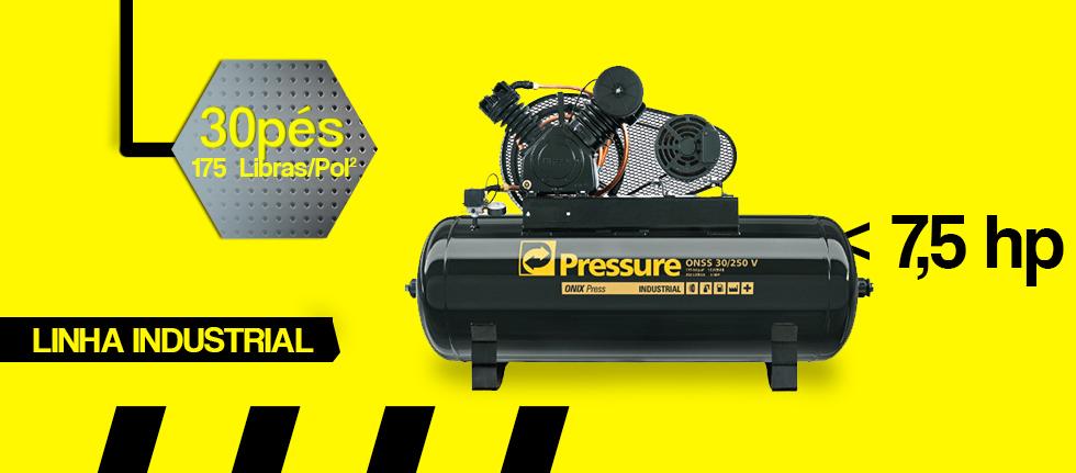 Compressor de ar industrial 250 litros 30 pés Ônix 30/250 V Pressure