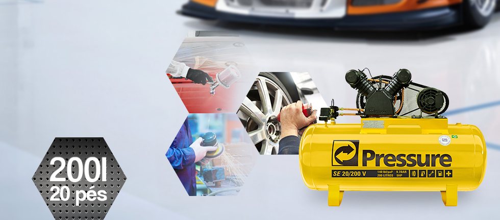 Compressor de Ar 200 litros 20 Pés SE 20/200V Pressure - 220/380V