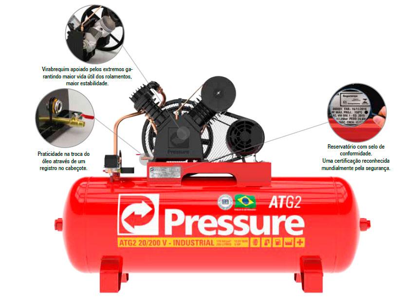 Compressor de Ar 250 L 20 Pcm Atg2 Pressure - Mono 220/380V