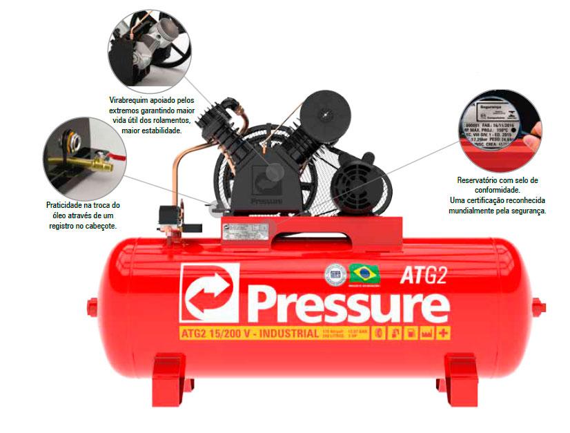 Compressor de Ar 200 L 15 Pcm Atg2 Pressure - Mono 127/220V