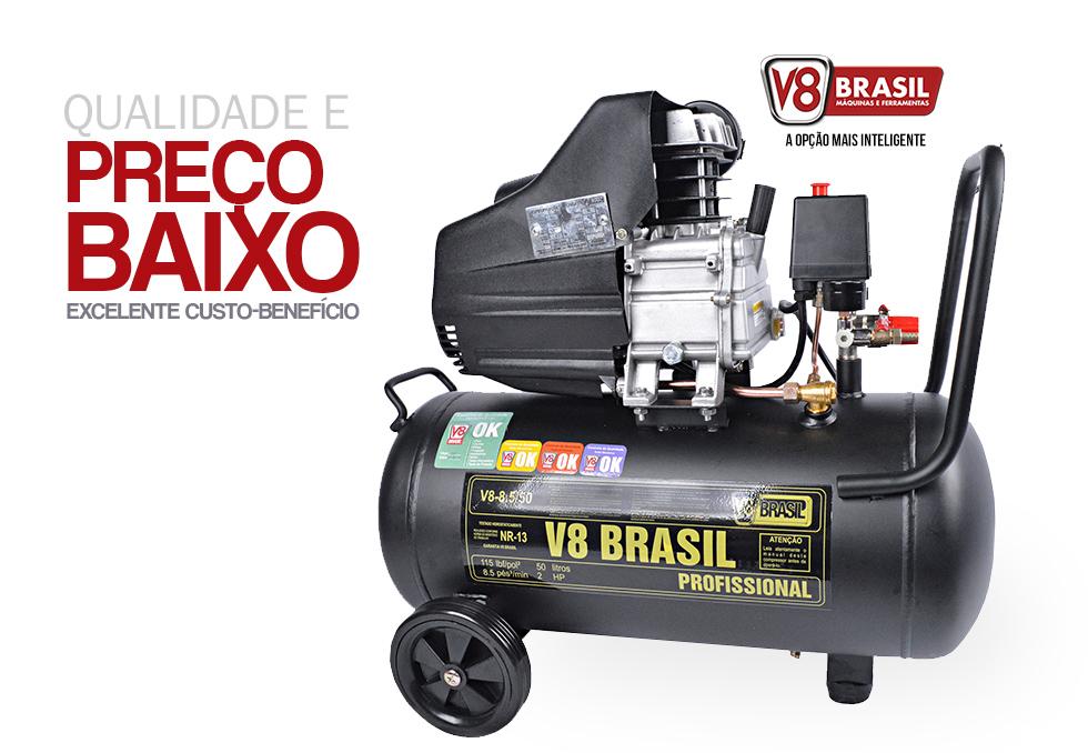 Compressor de Ar 50 Litros 8,5 Pés 115PSI 2CV V8 Brasil 127V